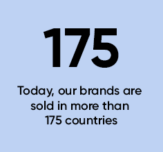 175 today, our brands are sold in more than 175 countries