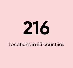 216 locations in 63 countries